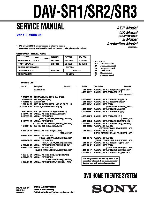 sony dav sr1 dav sr2 dav sr3 service manual view online or rh servlib com Chilton Manuals Truck Manual