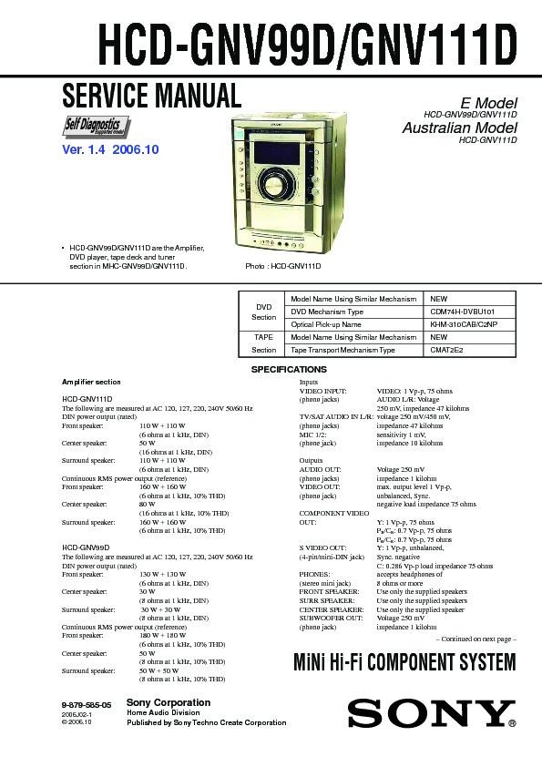 Sony Hcd Gnv111d Hcd Gnv99d Mhc Gnv111d Mhc Gnv99d Service Manual View Online Or Download Repair Manual