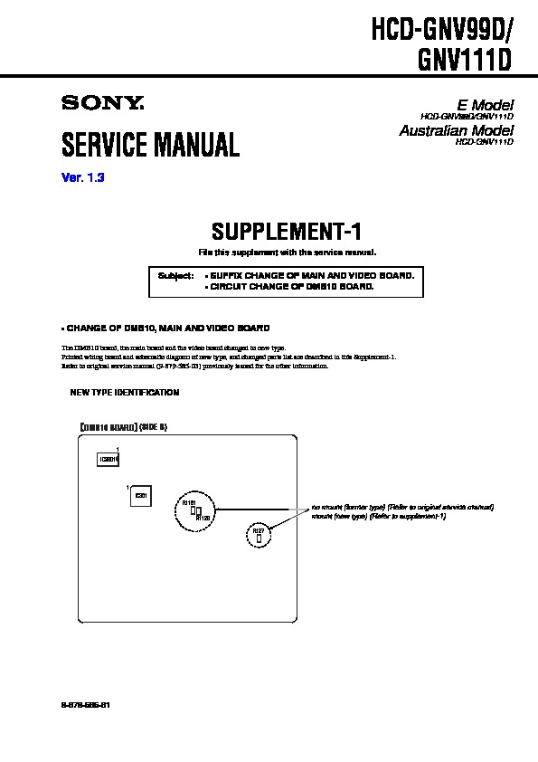 Sony Hcd Gnv111d Hcd Gnv99d Service Manual View Online Or Download Repair Manual