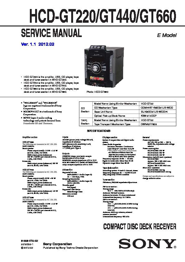 sony hcd gt220 hcd gt440 hcd gt660 mhc gt220 mhc gt440 mhc rh servlib com Yamaha Service Manuals PDF Parts Manual