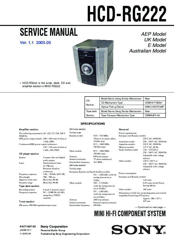sony hcd rg222 mhc rg222 service manual view online or download rh servlib com Sony Mini Hi-Fi Component System Sony S-Master Digital Amplifier