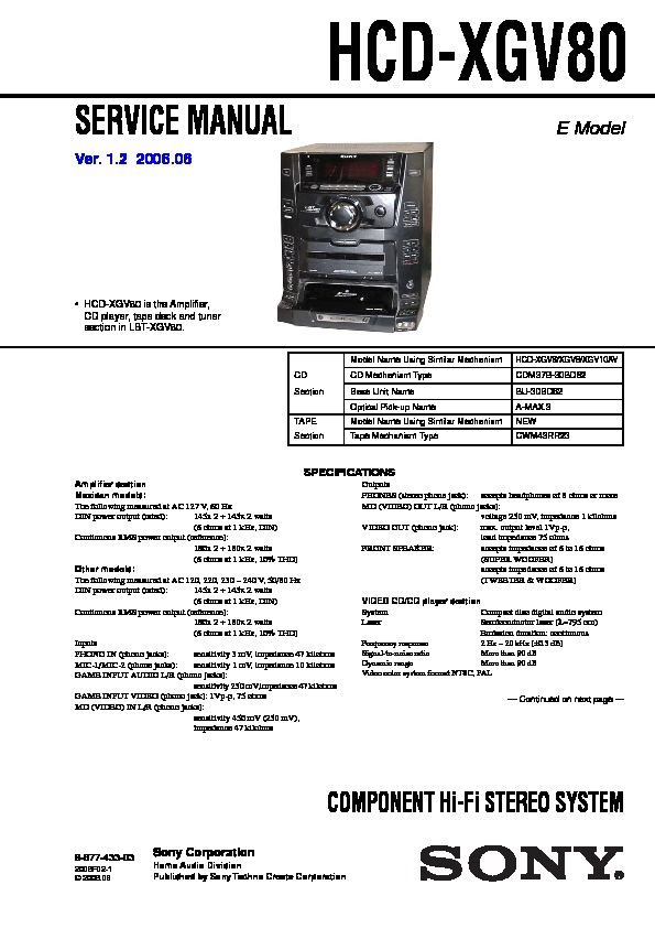 Sony HCD-XGV80, LBT-XGV80 Service Manual — View online or Download ...