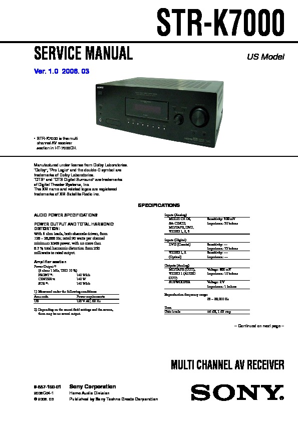 sony dvp nc85h ht 7000dh service manual view online or download rh servlib com Sony 5 Disc DVD Player Sony 5 Disc DVD Changer