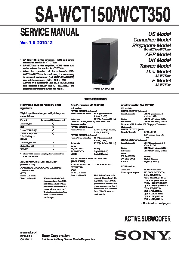 sony ht ct150 ht ct350 sa wct150 sa wct350 service manual view rh servlib com CNET Sony HT-CT150 Clear Speaker Cable Sony HT-CT150