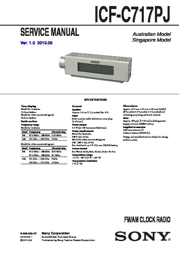 Icf C717pj Sony Dream Machine Manual Wiring Library