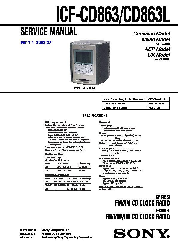 sony icf cd863 icf cd863l service manual view online or download rh servlib com ICF Sony Ex5mk2 Sony Electronics