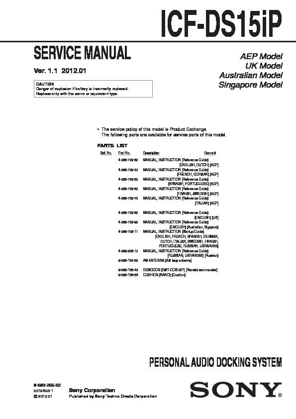 sony icf ds15ip service manual view online or download repair manual rh servlib com Repair Manuals Yale Forklift Truck Manual