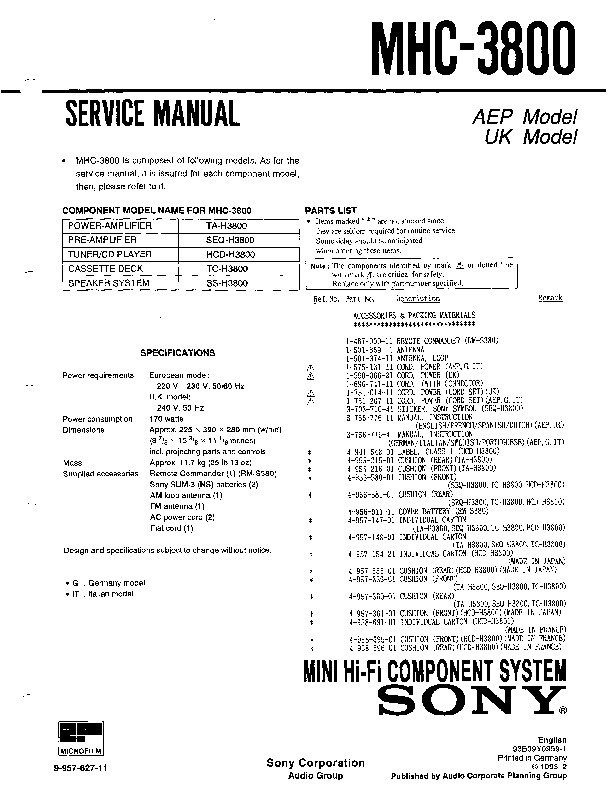 Sony MHC-3800, SEQ-H3800 Service Manual — View online or Download