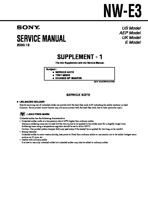 Sony NW-E3 Service Manual — View online or Download repair manual