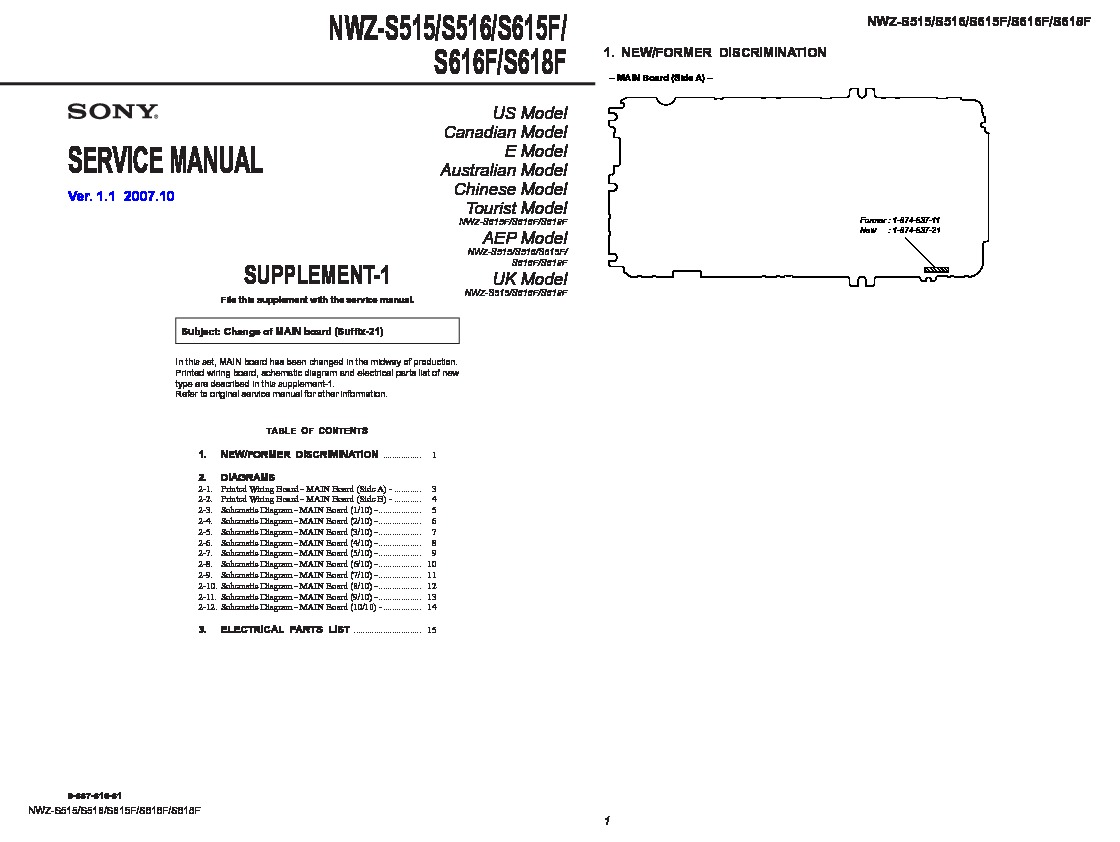 Sony Nwz S515 S516 S615f S616f S618f Service Wiring Diagram 22 Pin Walkman Manuals
