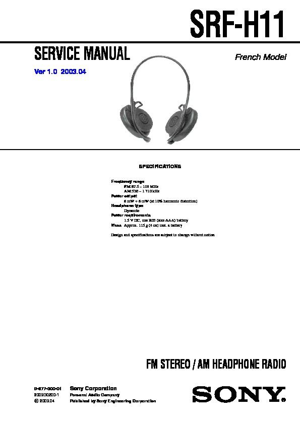 sony audio service manuals page 301 rh servlib com Sony Srf M97 Sony Srf M97