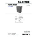 Sony SS-FCR100, SS-FCRW100, SS-MB100H Service Manual
