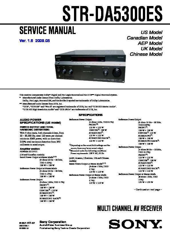 Sony Str Da5300es Service Manual View Online Or Download Repair Manual