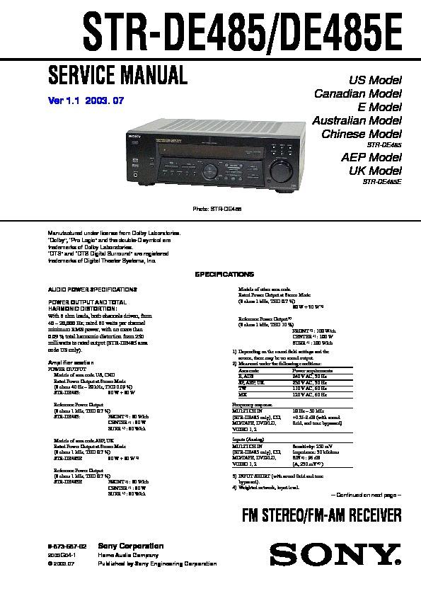 Sony i manual array sony str de485 str de485e service manual u2014 view online or download rh servlib fandeluxe Images