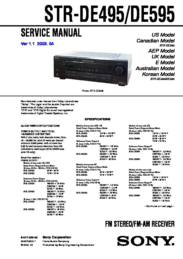 sony str de495 str de595 service manual view online or download rh servlib com 60 40 Portfolio 40 X 60 Shop Plans