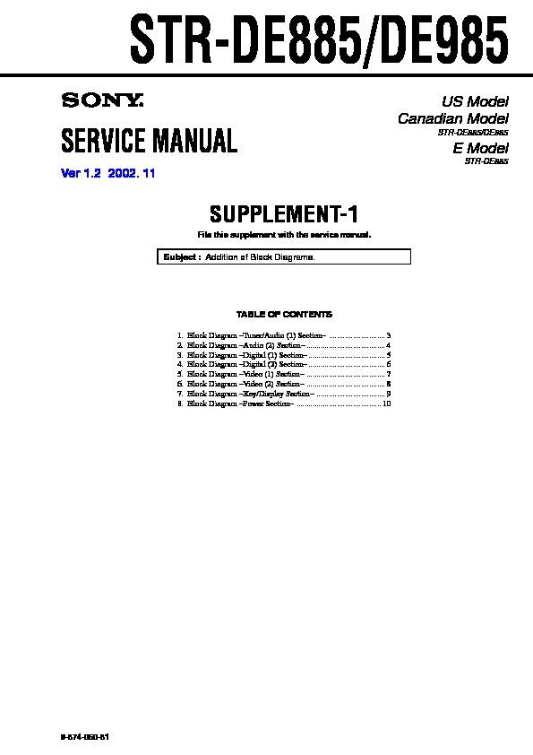 sony str de885 str de985 serv man2 service manual view online rh servlib com sony str-de985 review sony str-de985 manual pdf