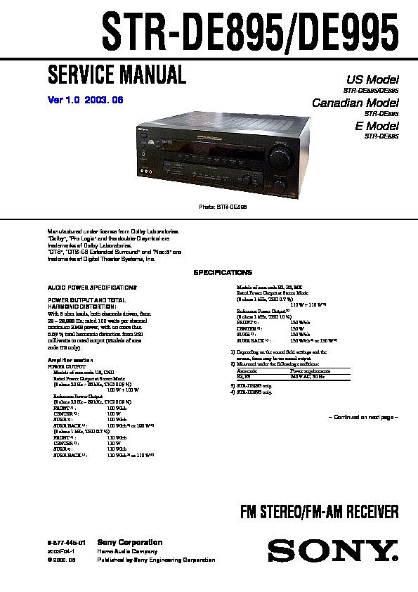 sony str de895 str de995 service manual view online or download rh servlib com Sony STR De835 Sony STR Receivers