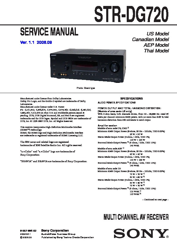 Sony STR-DG720 Service Manual — View online or Download