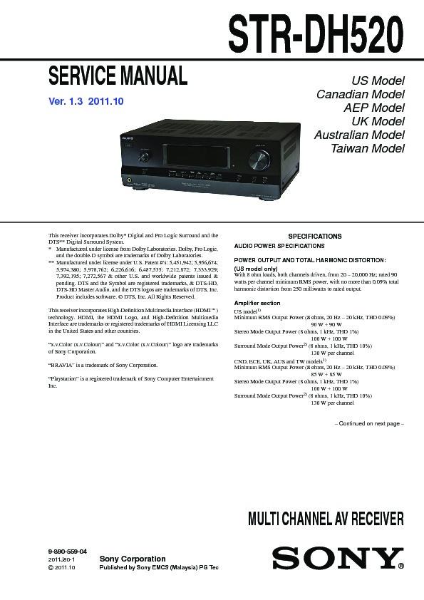 Инструкция ресивер sony str dh520