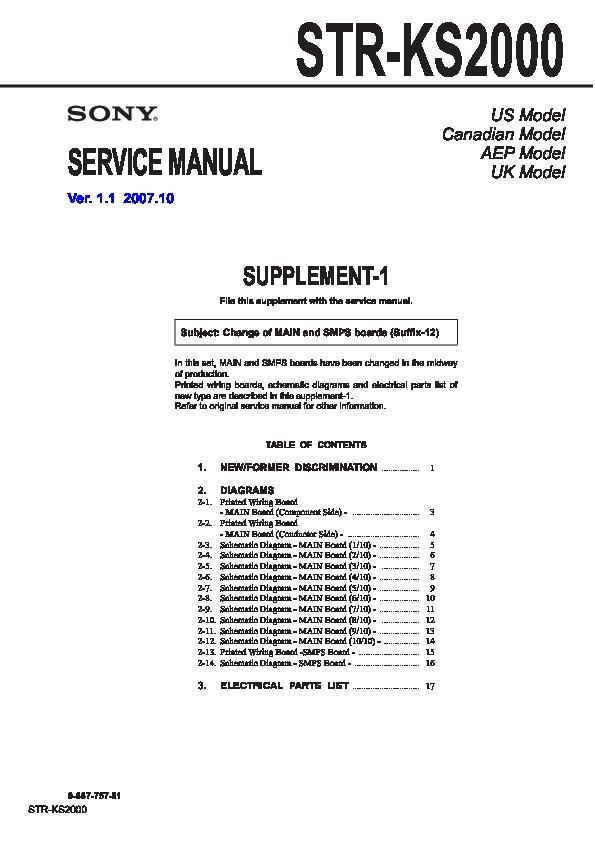 Sony STR-KS2000 Service Manual — View online or Download repair manual