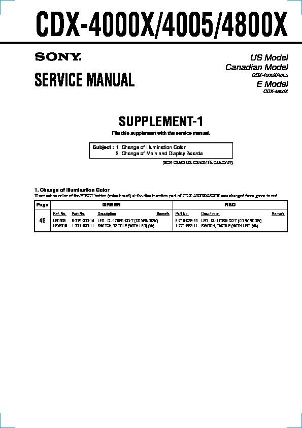 Sony CDX-4000X, CDX-4005, CDX-4800X (SERV.MAN2) Service Manual ...
