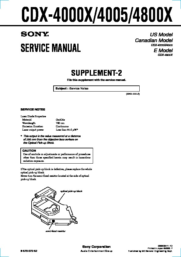 Sony CDX-4000X, CDX-4005, CDX-4800X Service Manual — View online or ...