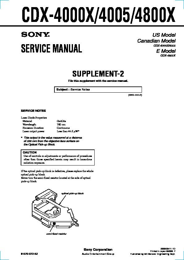 Sony CDX-4000X, CDX-4005, CDX-4800X (SERV.MAN3) Service Manual ...  Service manuals and schematics