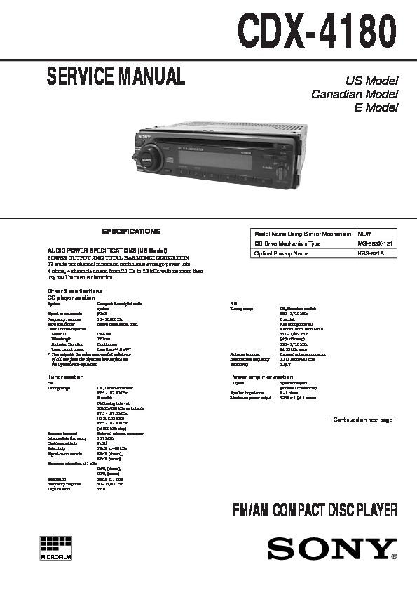 Sony Cdx 4180 Service Manual View