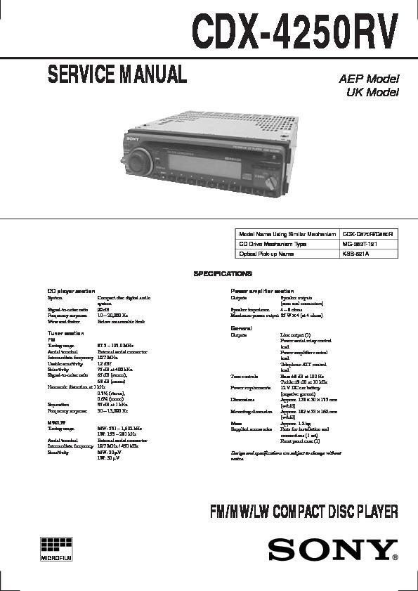 sony cdx 4250 cdx 4500 service manual view online or download rh servlib com
