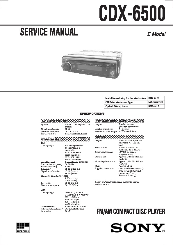 Sony Cdx 6500 Service Manual View