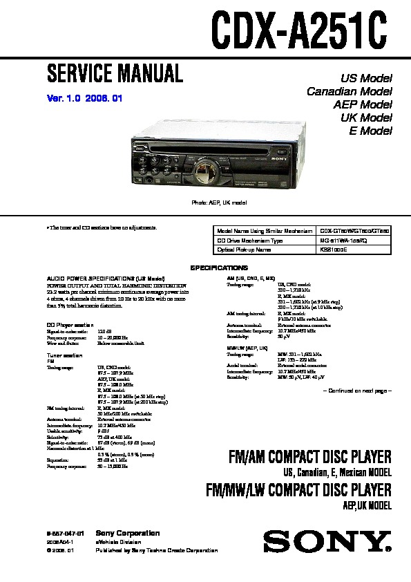 sony cdxa251c service manual — view online or download