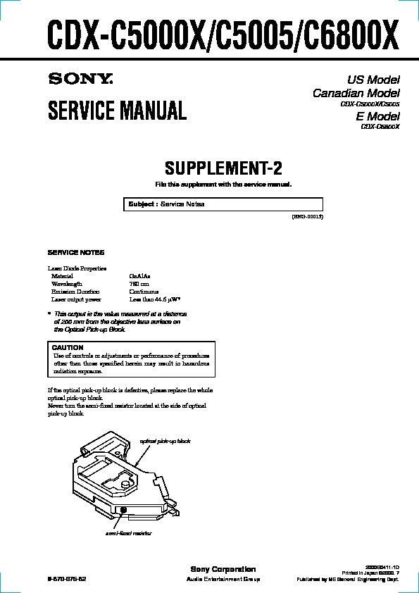 sony cdx c5000x cdx c5005 cdx c6800x serv man3 service manual rh servlib com Sony Xplod CD Receiver Sony Car Radio CD Player