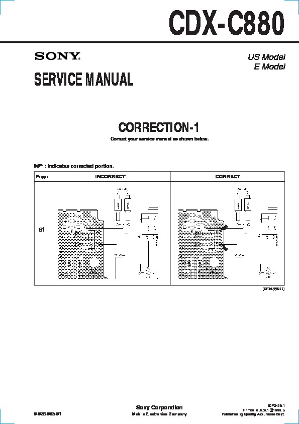 Sony Cdx C880 Service Manual View
