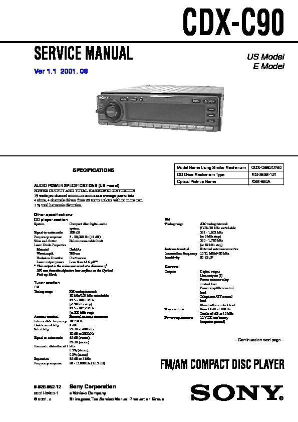 Sony Cdx C90 Service Manual View