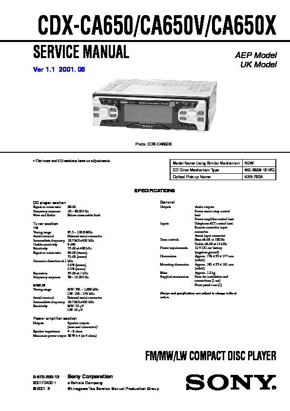 cdx-ca650, cdx-ca650v, cdx-ca650x service manual