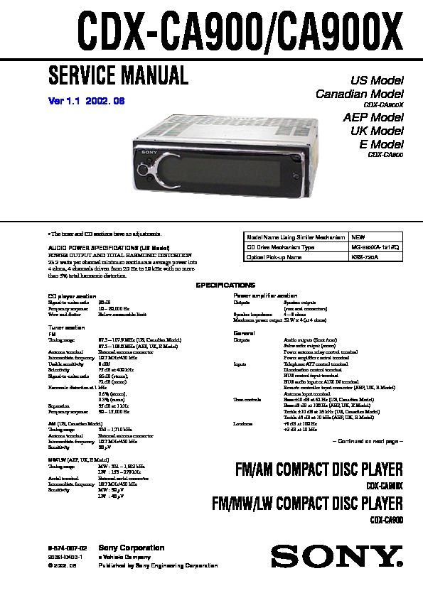cdx-ca900, cdx-ca900x service manual