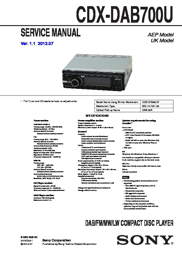 Sony Cdx Dab700u Service Manual View Online Or Download Repair Manual