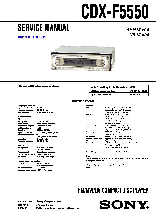 sony cdx f5550 service manual view online or download repair manual rh servlib com Sony Gt260mp Sony R3000