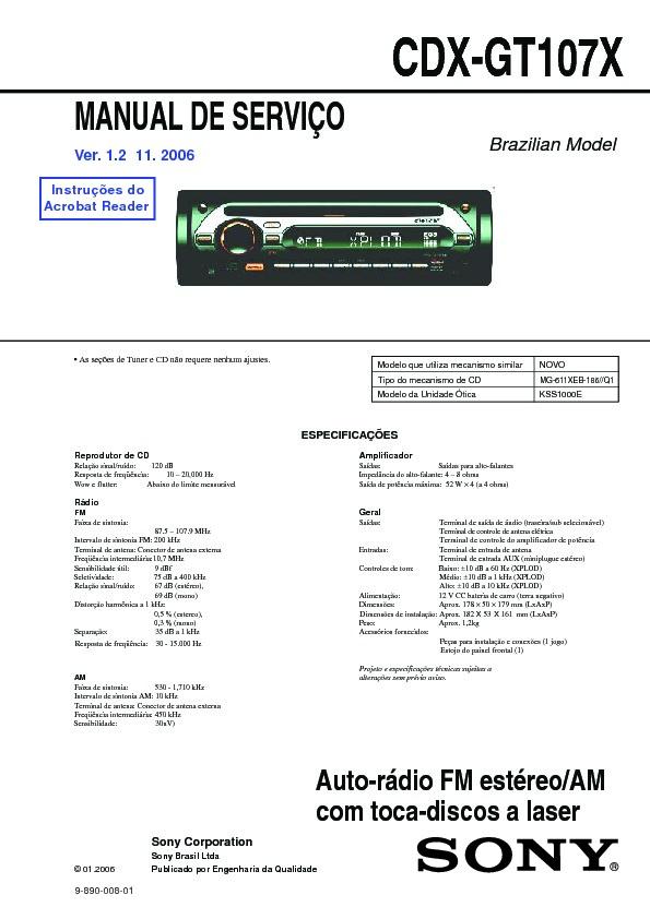 sony cdx-gt107x service manual