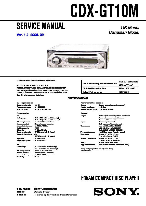 sony cdx-gt10m service manual