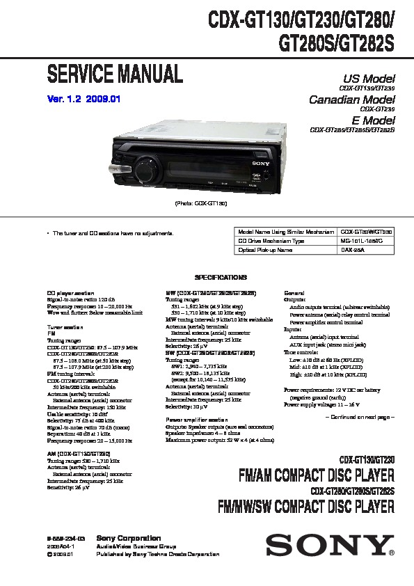 sony cdx-gt130, cdx-gt230, cdx-gt280, cdx-gt280s, cdx-gt282s, cxs-2869f,  cxs-gt2316f service manual — view online or download repair manual  service manuals and schematics