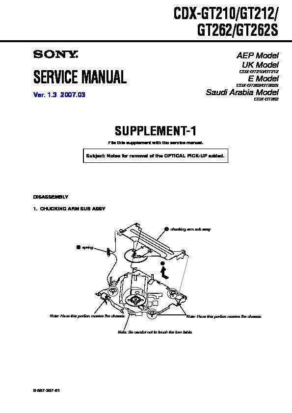 Sony CDX-GT210, CDX-GT212, CDX-GT262, CDX-GT262S Service Manual ...
