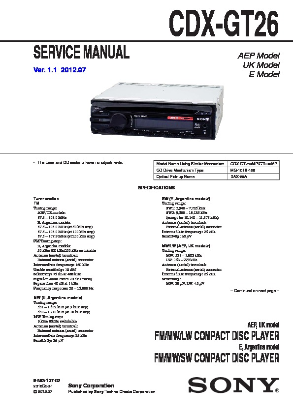 sony cdxgt26 service manual — view online or download