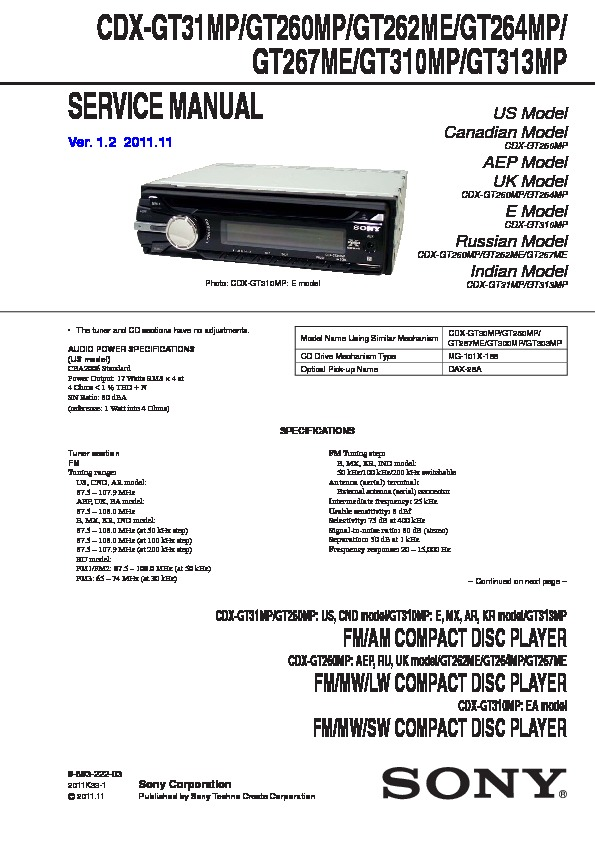 cdx gt310 wiring diagram sony cdx gt310 service manual     view online or download repair manual  sony cdx gt310 service manual     view