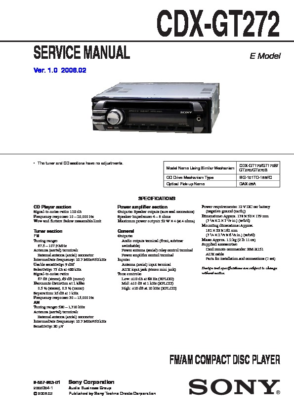 Sony Cdx Gt272 Service Manual View, Sony Cdx Gt270 Wiring Diagram