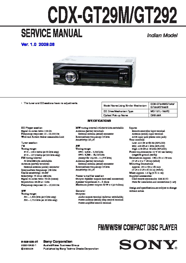 Sony CDX-GT292, CDX-GT29M Service Manual — View online or ... on