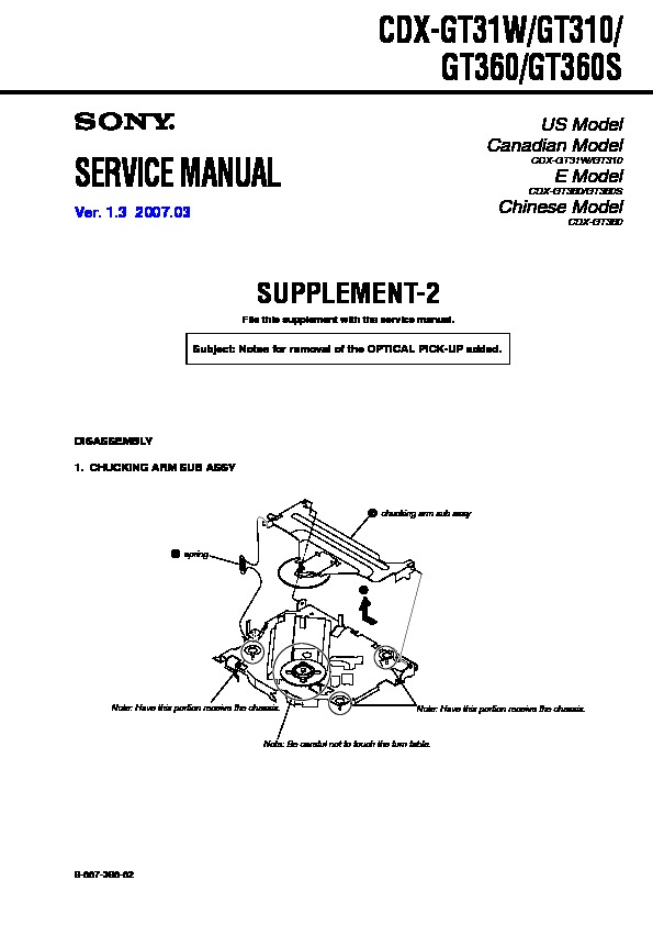 sony cdxgt310 service manual — view online or download
