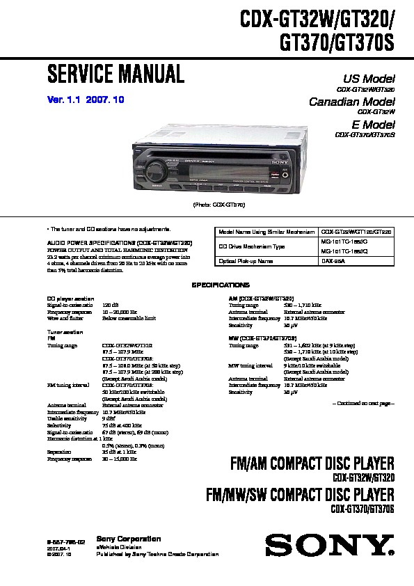 sony cdx gt320 cdx gt32w cdx gt370 cdx gt370s service manual rh servlib com Sony Car Radio CD Player sony cdx-gt22w wiring diagram
