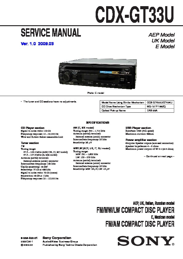 sony cdx gt33u service manual view online or download repair manual rh servlib com dvd player service manual mp3 player service manual