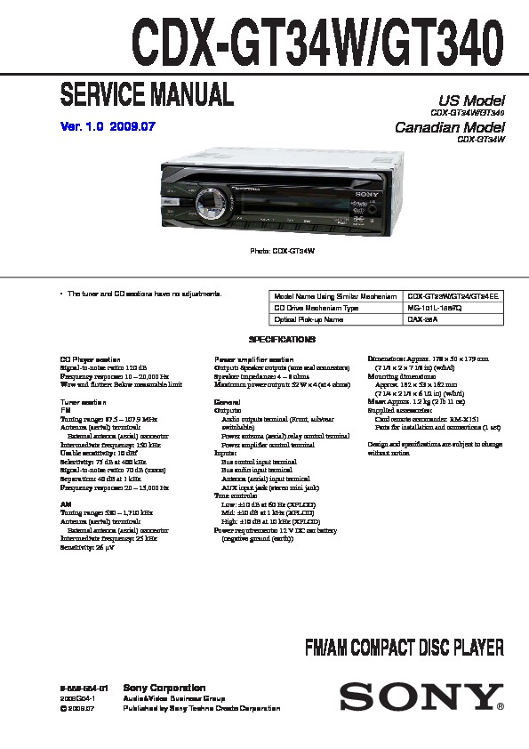 sony cdxgt340 cdxgt34w service manual — view online or